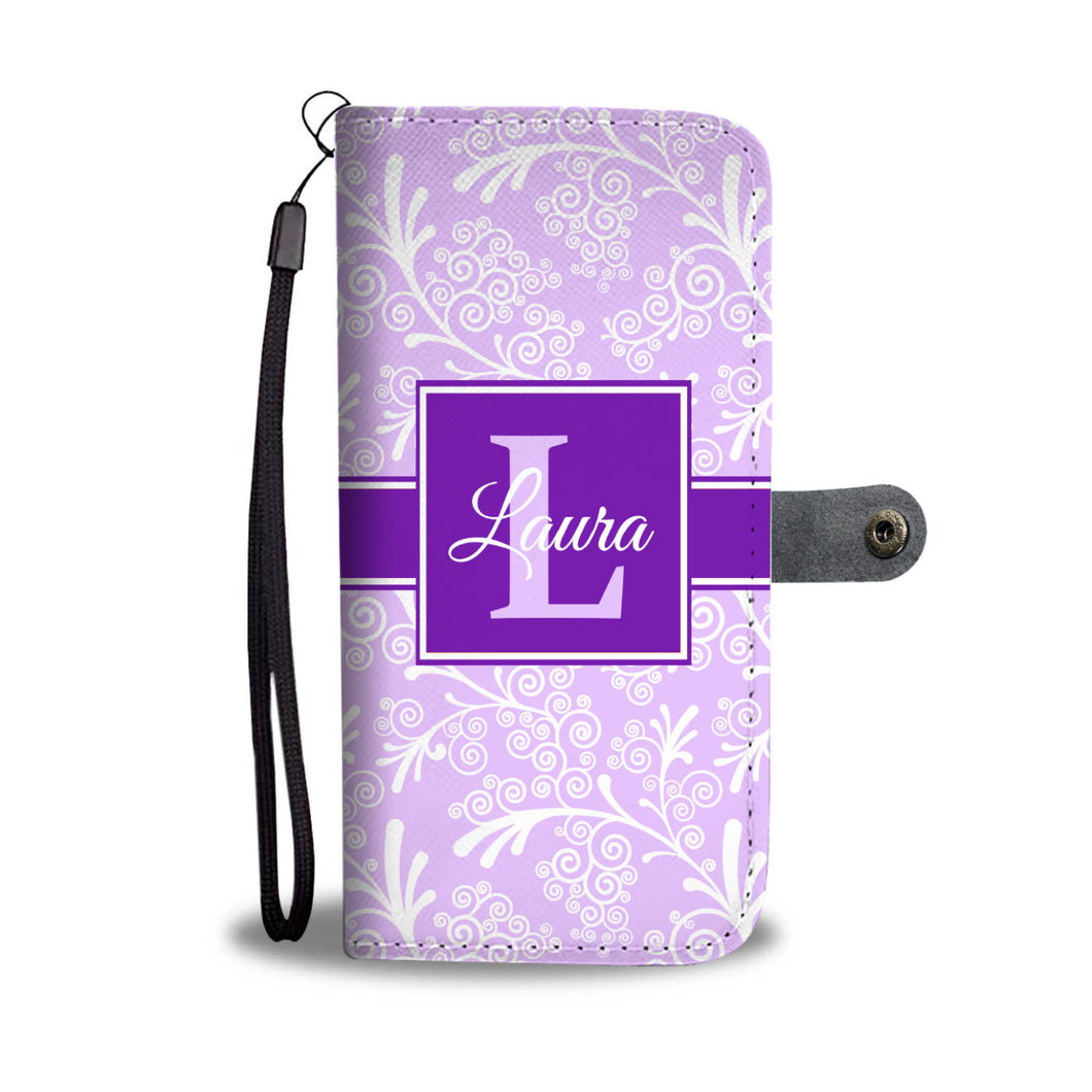 Lavender Leaves and Swirls Damask Monogram Cell Wallet Case (MON-5)