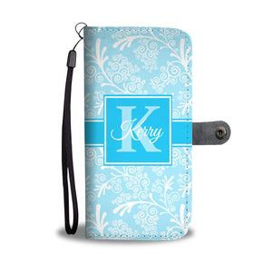 Light Blue Leaves and Swirls Damask Monogram Cell Wallet Case (MON-6)
