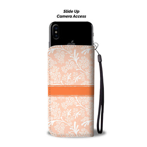 Peach Leaves and Swirls Damask Monogram Cell Wallet Case (MON-7)