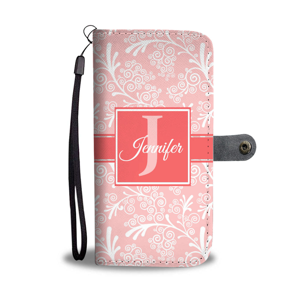 Rosy Coral Leaves and Swirls Damask Monogram Cell Wallet Case (MON-8)