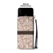 Taupe Brown Leaves and Swirls Damask Monogram Cell Wallet Case (MON-9)