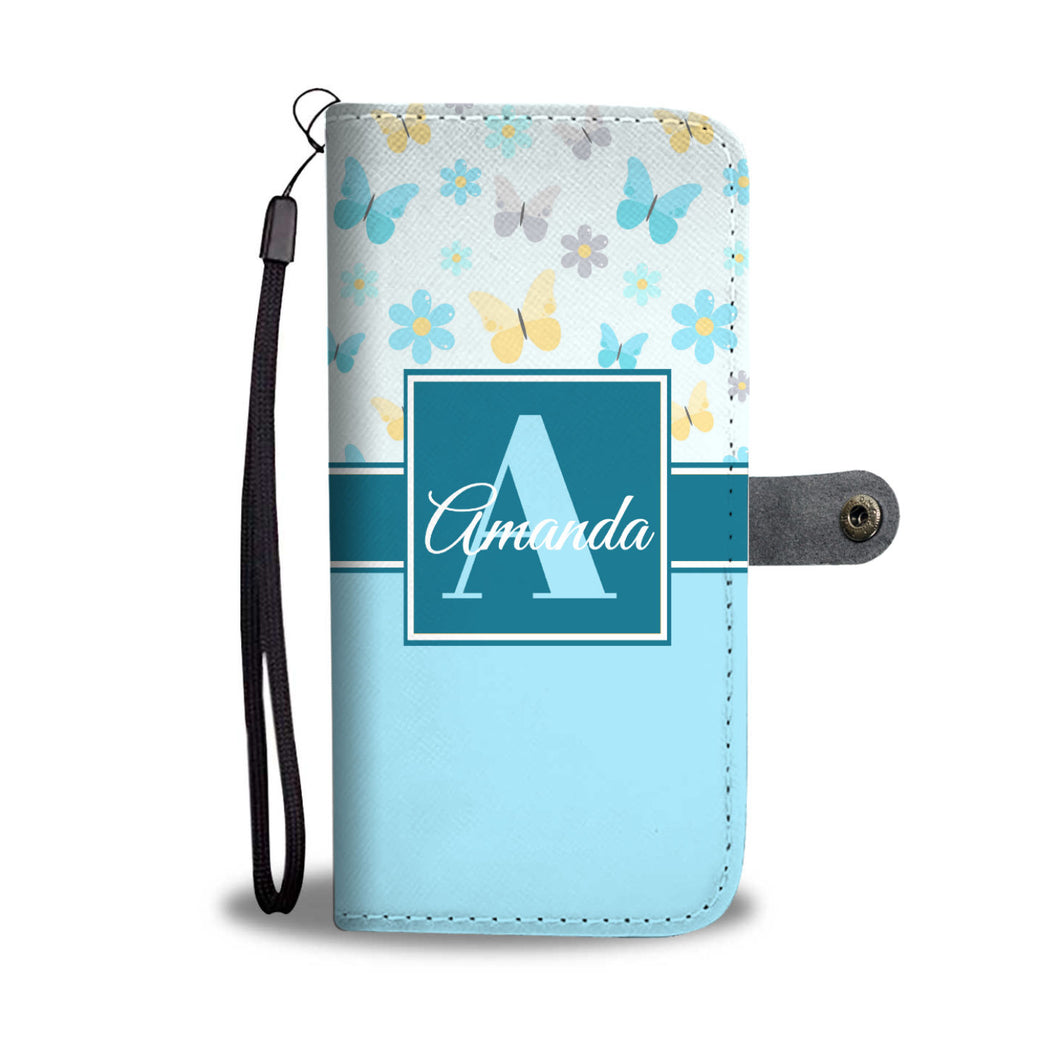 Blue Butterflies Monogram Cell Wallet Case (MON-10)