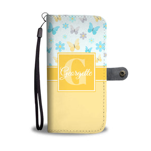 Buttercream Butterflies Monogram Cell Wallet Case (MON-12)