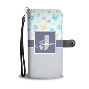 Mono Purple Butterflies Monogram Cell Wallet Case (MON-11)