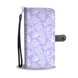 Blue Leaves and Swirls Damask Cell Wallet Case