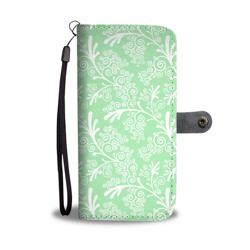 Green Leaves and Swirls Damask Cell Wallet Case
