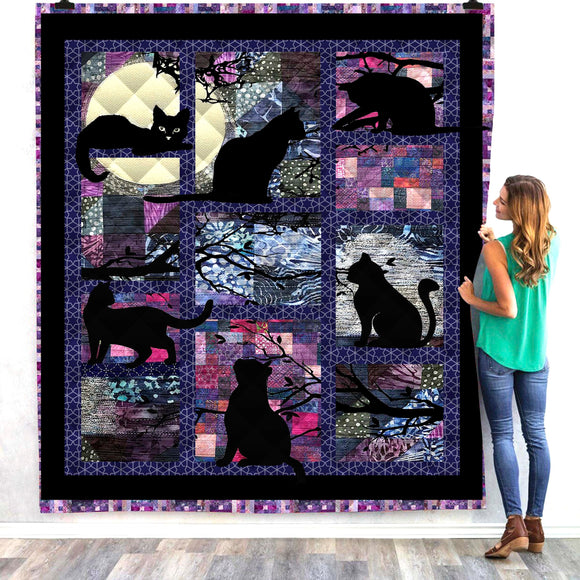 Black Cat at Night Panel Quilt/Throw