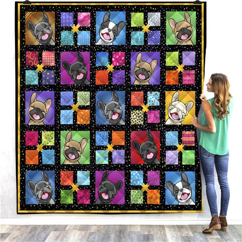 Cartoon Happy Boxer Dog Quilt/Throw