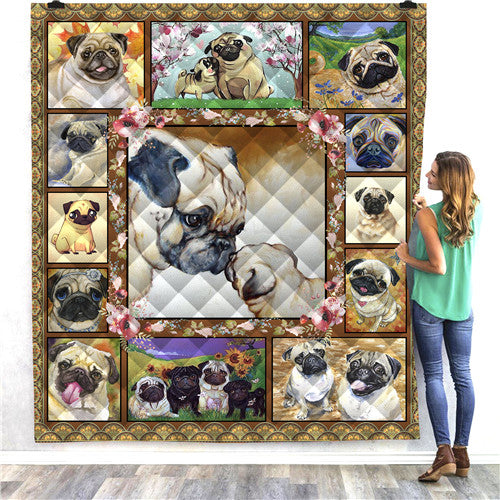 Pug Love Dog Quilt/Throw