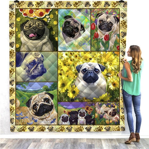 Pug Dog Panel Quilt/Throw