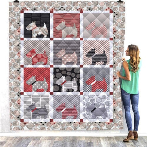 Terrier Dog Panel Quilt/Throw