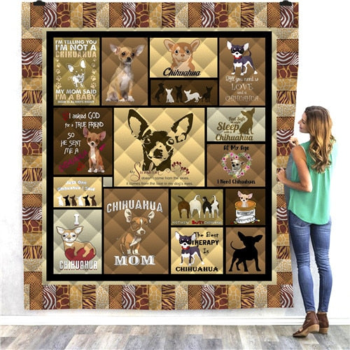 Chihuahua Brown Panels Dog Quilt/Throw