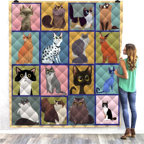 Cartoon Cat Panels Quilt/Throw