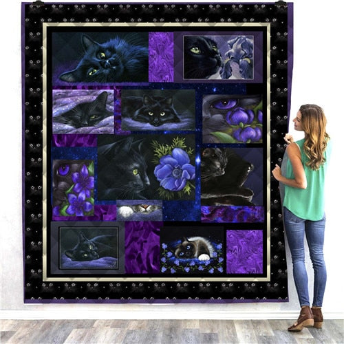 Black Cats at Night Quilt/Throw