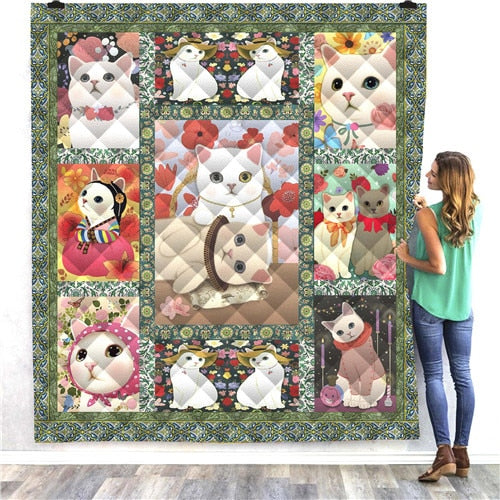 White Cats Quilt/Throw