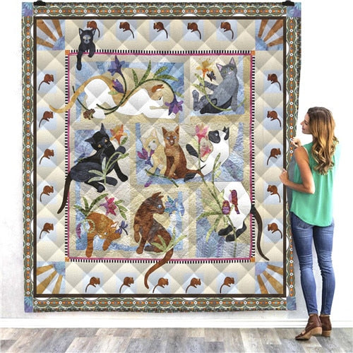 Cats Playing Quilt/Throw
