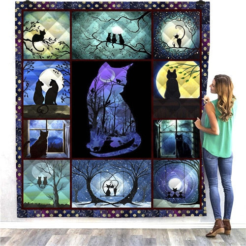 Cats in Moonlight Quilt/Throw