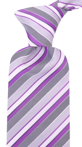 Purple Gray Striped Necktie