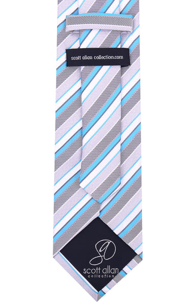 Turquoise Gray Necktie - Scott Allan Collection