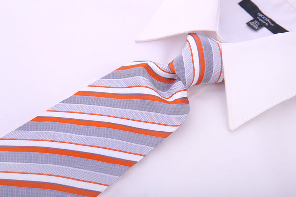 Orange Gray Striped Necktie - Scott Allan Collection