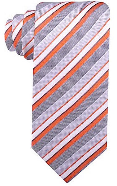 Orange Gray Striped Necktie