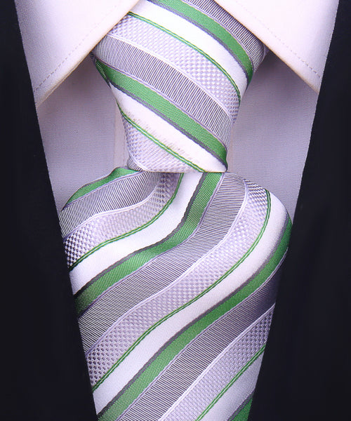 Green and Gray Striped Necktie