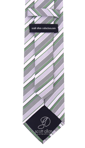 Green and Gray Striped Necktie - Scott Allan Collection