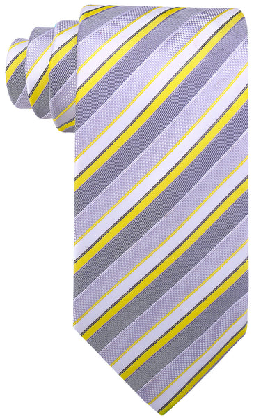 Yellow Gray Striped Necktie