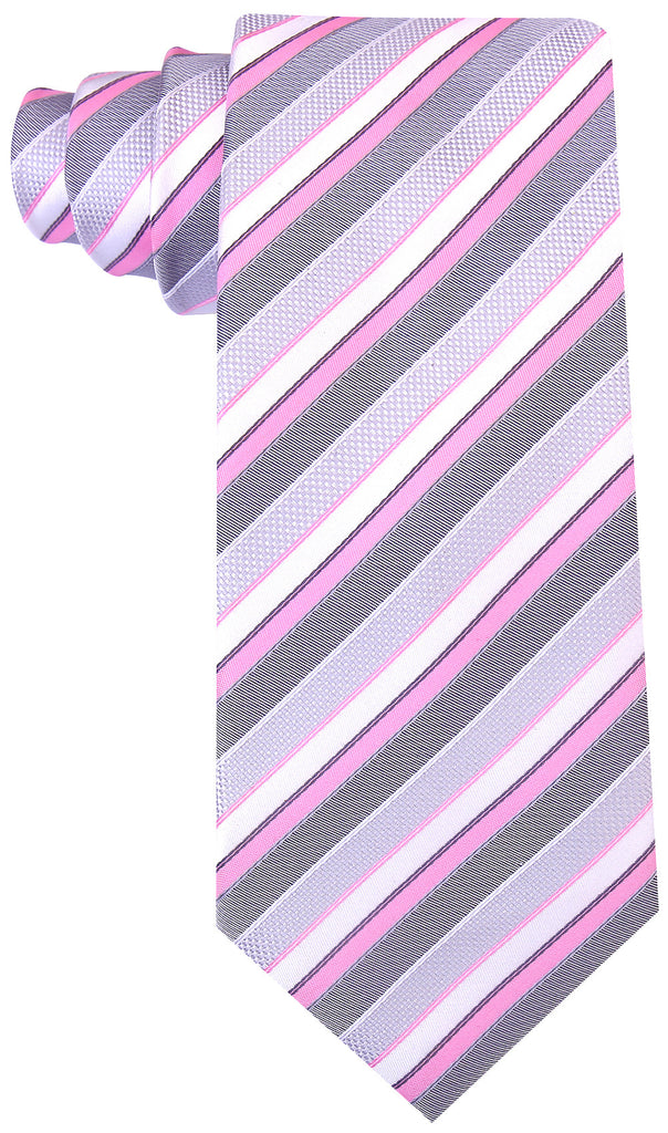Pink Gray Striped Necktie - Scott Allan Collection