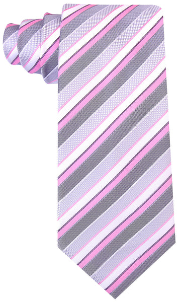 Pink Gray Striped Necktie