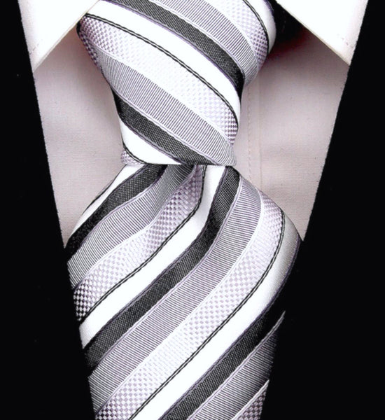 Black & Gray Striped Necktie