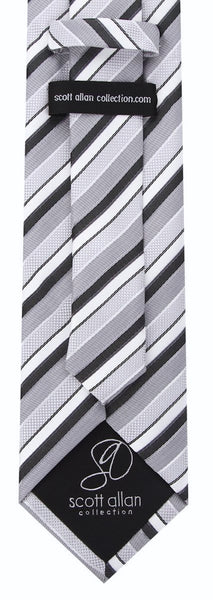 Black & Gray Striped Necktie - Scott Allan Collection