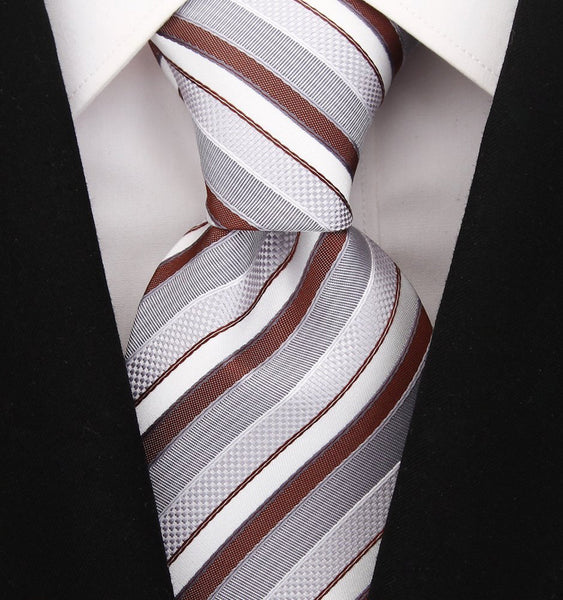 Brown & Gray Striped Necktie - Scott Allan Collection