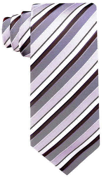 Brown & Gray Striped Necktie