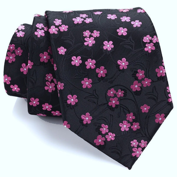 Black and Pink Floral Necktie