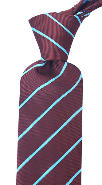 Brown & Turquoise Pencil Stripe Necktie