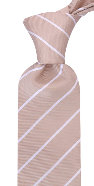Beige Striped Necktie