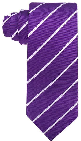 Purple & White Striped Necktie