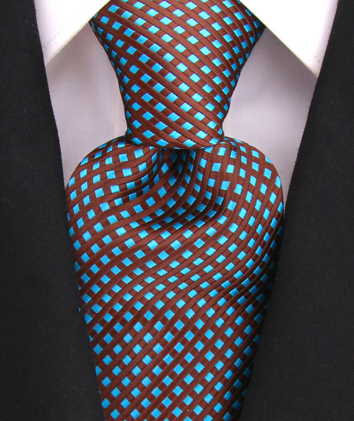 Brown Teal Diamond Necktie - Scott Allan Collection