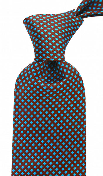 Brown Teal Diamond Necktie