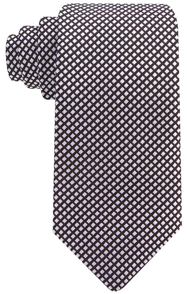 Black & Silver Diamond Patterned Necktie
