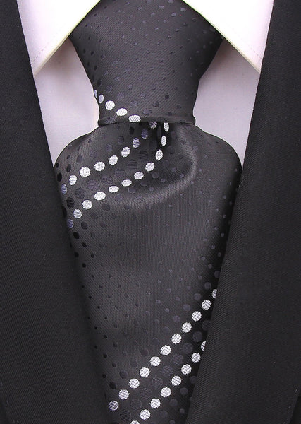 Geometric Necktie - Black and White - Scott Allan Collection
