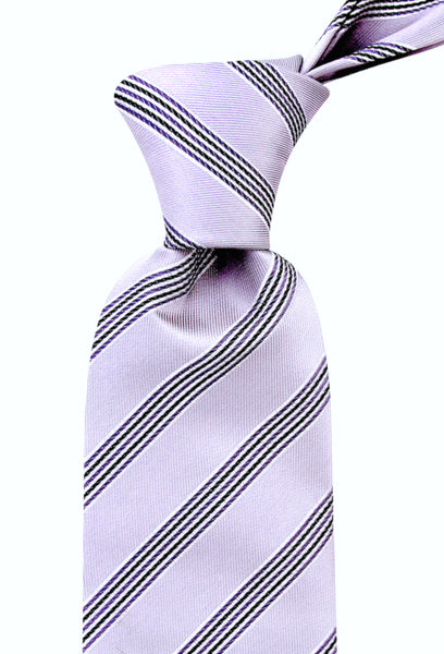 Striped Necktie - Platinum Silver