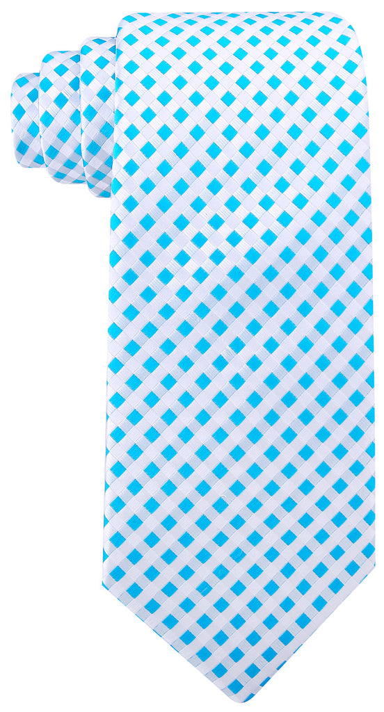 Light Blue Checkered Necktie - Scott Allan Collection
