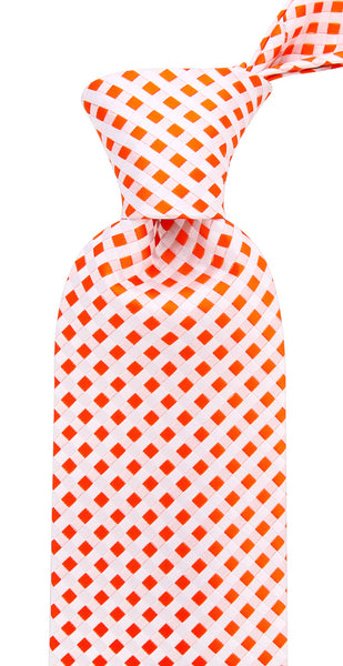Orange White Check Necktie