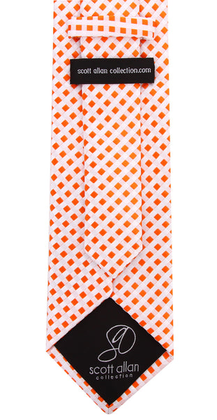 Orange White Check Necktie - Scott Allan Collection