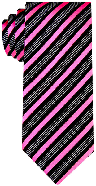 Striped Necktie - Black and Pink