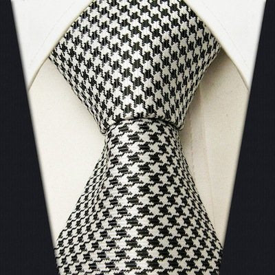 Hound's-tooth Necktie - Black and White - Scott Allan Collection