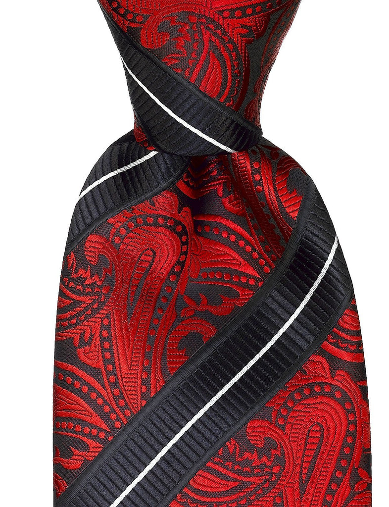 Striped Paisley Necktie - Red and Black - Scott Allan Collection