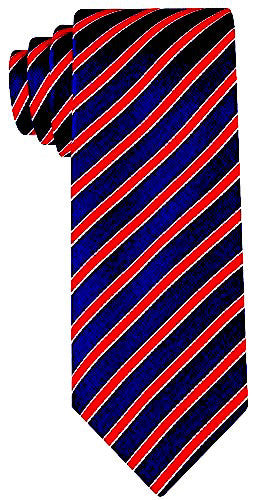 Striped Necktie - Navy Blue and Red